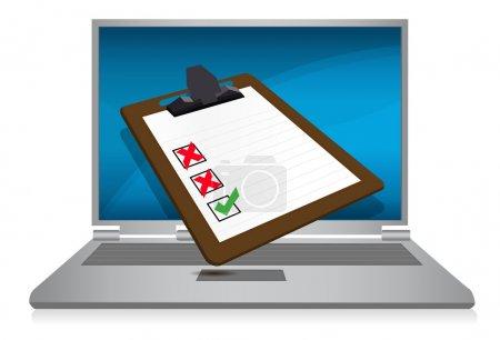 Photo pour Affichage d'ordinateur portable avec une illustration de presse-papiers d'enquête - image libre de droit