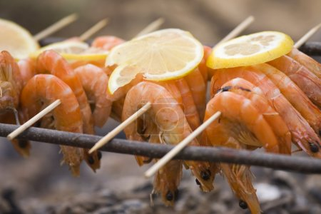 Photo for BBQ shrimp at a picnic in the forest - Royalty Free Image