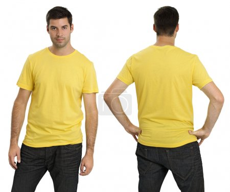 Photo for Young male with blank yellow t-shirt, front and back. Ready for your design or logo. - Royalty Free Image