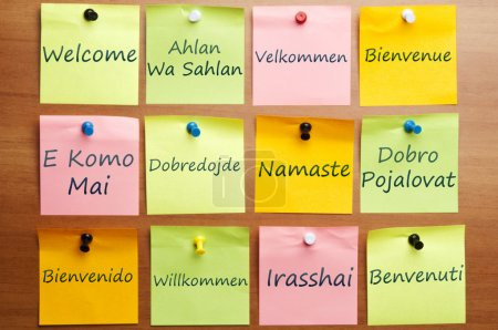 Photo pour Mot de bienvenue le poster dans 12 langues - image libre de droit