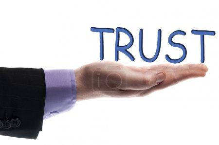 Photo pour Mot confiance à main masculin - image libre de droit