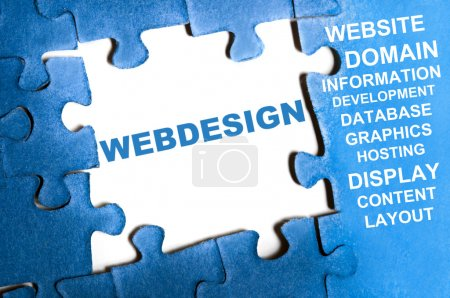 Webdesign blue puzzle pieces assembled...