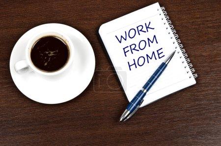 Photo pour Travail de message d'accueil et café - image libre de droit