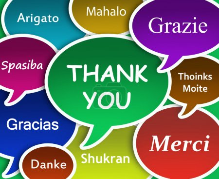 Illustration of Thank you in many languages