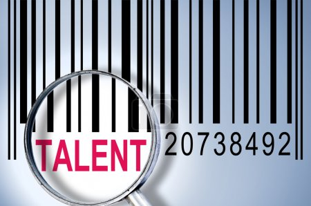 Photo for Talent under magnifyng glass on barcode - Royalty Free Image