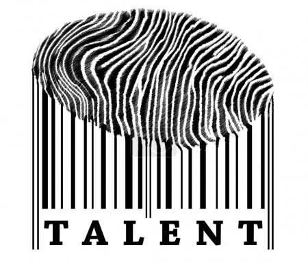Photo for Talent on barcode with fingerprint - Royalty Free Image