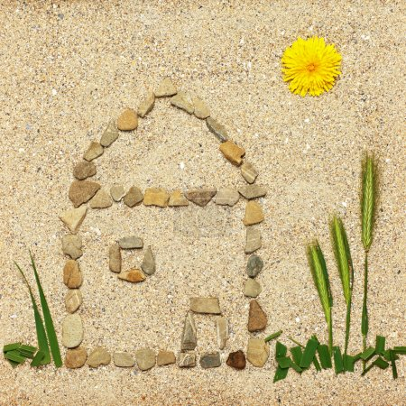 Stone house illustration in sand