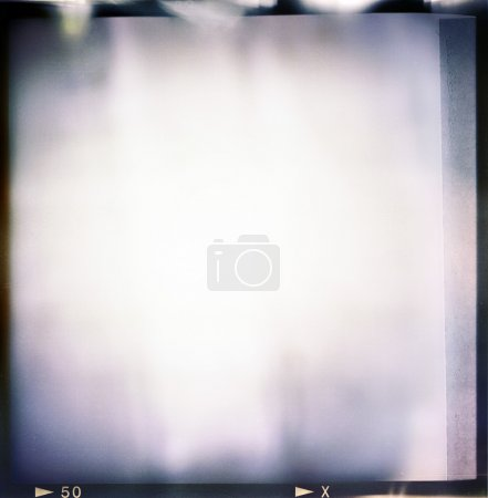 Photo for Blank medium format (6x6) color film frame with abstract filling with lot of light leaks, last exposure ending with tape, hard vintage film grain effect added; - Royalty Free Image