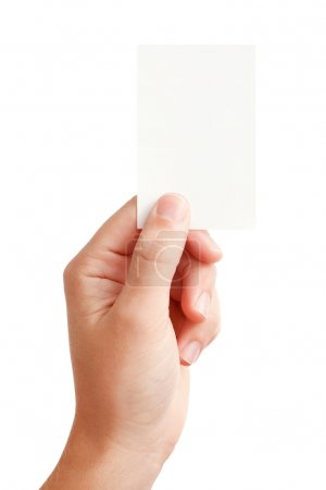Photo for Businessman's hand holding blank paper business card, closeup isolated on white background - Royalty Free Image