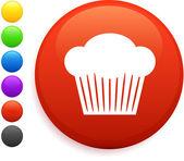 Icona di muffin sul tasto rotondo di internet