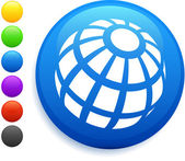 Globe icon on round internet button