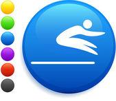 Skok daleký ikona na kulaté tlačítko internet