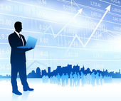 Businessman with graph and Skyline Original Vector Illustration Businessmen Concept