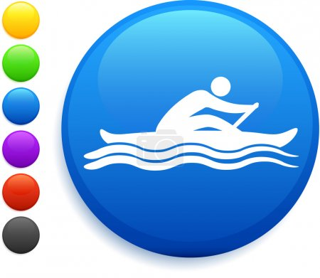 Illustration for Rowing icon on round internet button original vector illustration 6 color versions included - Royalty Free Image