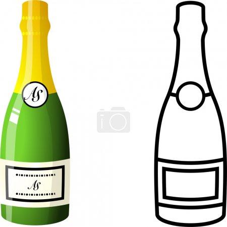 Illustration pour Flacon de Champagne Illustration vectorielle originale - image libre de droit