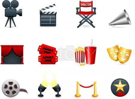 Photo pour Original vector illustration: Film and movies industry icon collection - image libre de droit