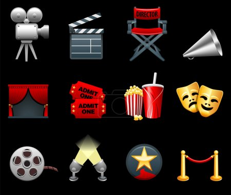 Photo for Original vector illustration: Film and movies industry icon collection - Royalty Free Image