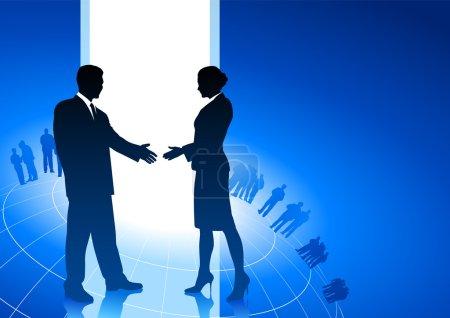 Illustration pour Illustration vectorielle originale : homme d'affaires et femme d'affaires serrant la main fond Internet compatible AI8 - image libre de droit