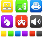 Technology Icons on Square Internet Buttons