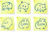Mice and hamsters on post it notes original vector illustration 6 color versions included