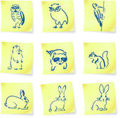 forest creatures drawings on post it notes