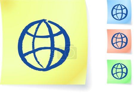 Illustration pour Globe graphique sur note collante illustration vectorielle originale Post it note croquis Version trois couleurs incluse - image libre de droit