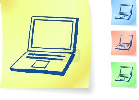 Illustration pour Ordinateur portable dessiné à la main sur une note collante illustration vectorielle originale Post it note croquis Version trois couleurs incluse - image libre de droit