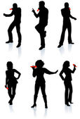 Singers Silhouette Collection\rOriginal Vector Illustration Silhouette Sets