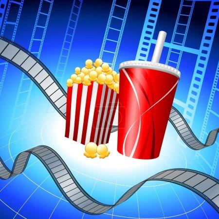 Illustration pour Popcorn and Soda on Film Strip Background Original Vector Illustration Film Reel Concept - image libre de droit
