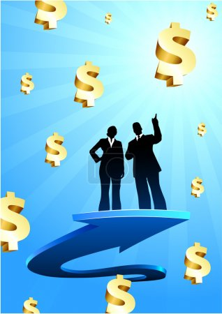 Business of profits background with two