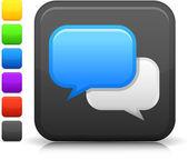Chat room icona sul pulsante quadrato di internet