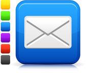Ikona e-mailu na čtvercové tlačítko internet
