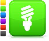 Ikona zelené elektrické žárovky na čtvercové tlačítko internet