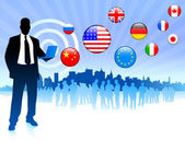 Businessman communication with internet flag buttons