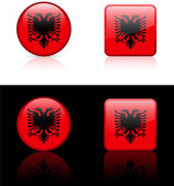 Albania Flag Buttons on White and Black Background