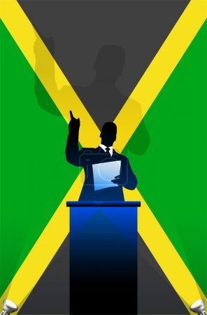 Jamaica flag with political speaker behind a podium