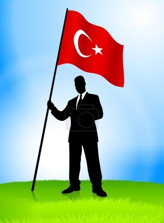 Businessman Leader Holding Turkey Flag