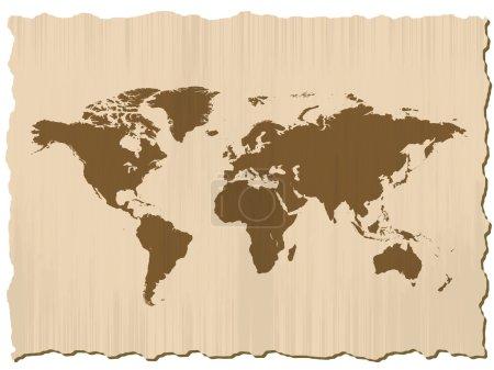Illustration pour Carte du monde sur papier rayé dans le cadre - image libre de droit