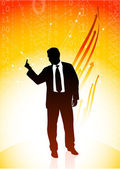 Business man showing a middle finger