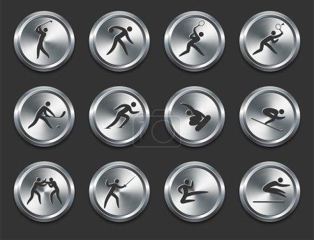 Illustration pour Sport Athletes Icons on Metal Internet Buttons Original Vector Illustration - image libre de droit
