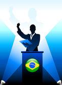 Brazil Leader Giving Speech on Stage
