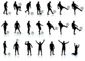 Soccer(football player) detailed silhouette set