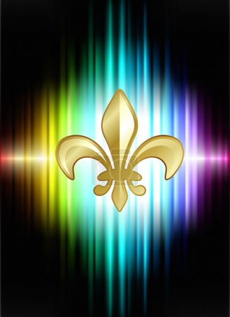 Fleur De Lis on Abstract Spectrum Background