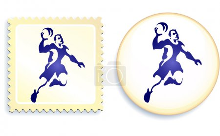 Dodgeball Stamp and Button