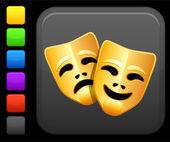 Komedie a tragédie, ikona masky na čtvercové tlačítko internet