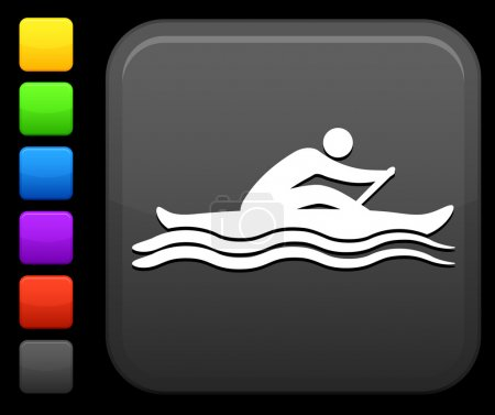 Sports rowing icon on square internet button