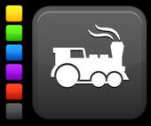 Treno icona sul pulsante quadrato di internet