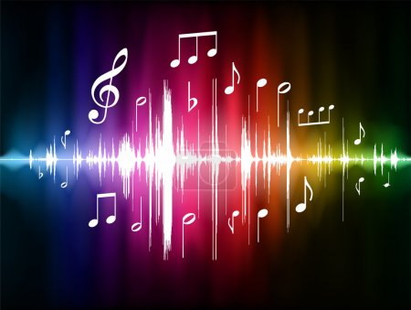 Illustration pour Spectre de couleurs Pulse avec notes musicales Illustration vectorielle originale - image libre de droit