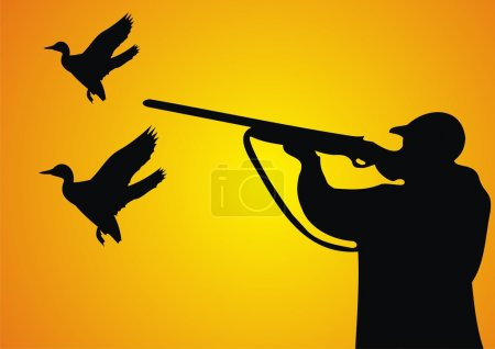 Duck hunting. A well-aimed marksman. Hunting for a...