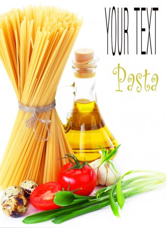 Pasta on the table and ingredients from vegetables